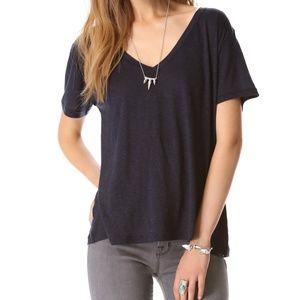 J Brand Janis V Neck T Shirt in Black